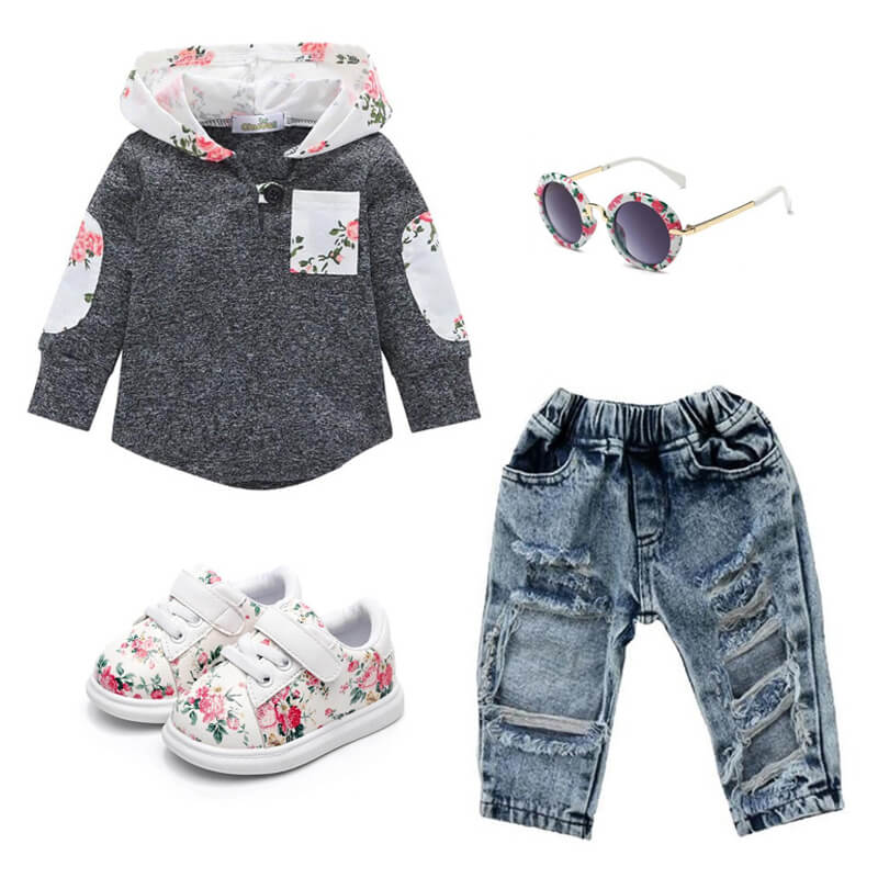 Toddler Girl Floral Hoodie Denim Pants Outfit