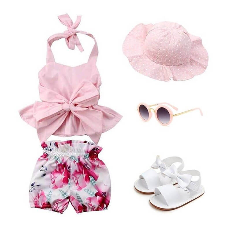 Baby Girl Pink Bow Floral Outfit Set