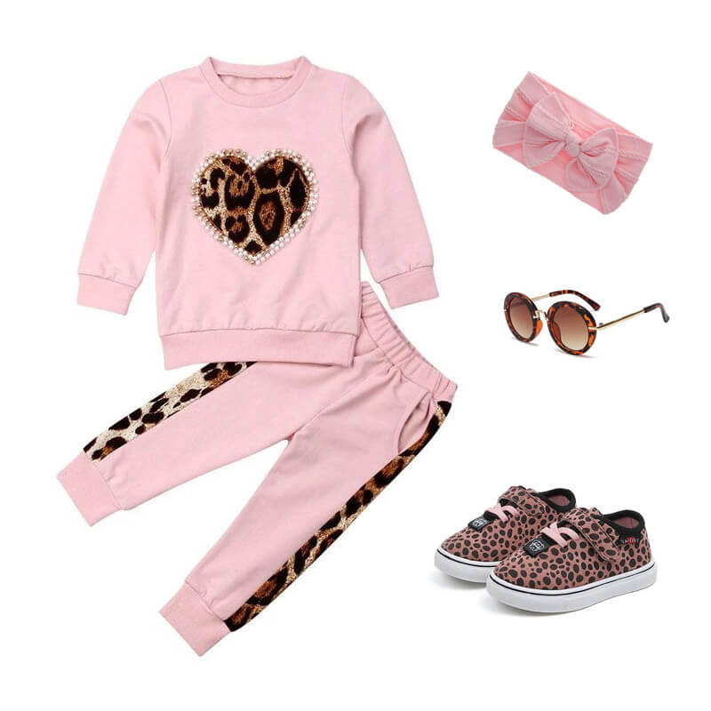 Toddler Girl Leopard Heart Pink Outfit