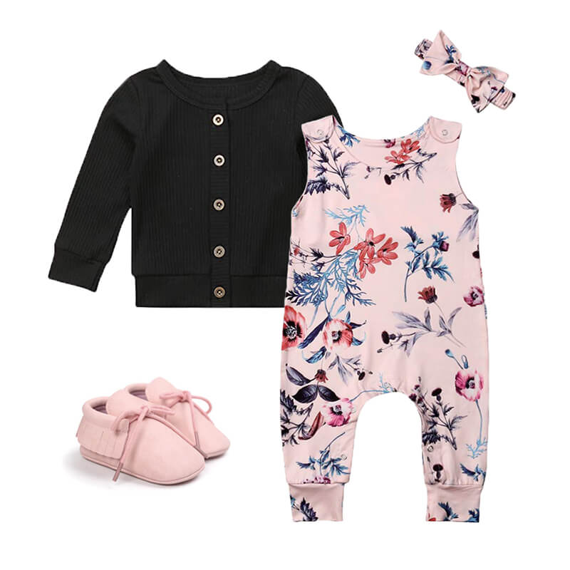 Baby Girl Floral Jumpsuit Cardigan Outfit