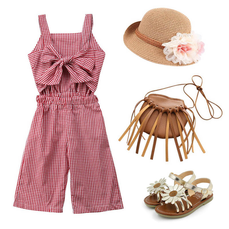 Toddler Girl Bow Plaid Jumpsuit Sandals Outfit
