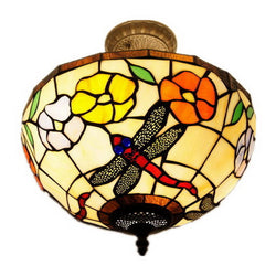 Traditional Dragonfly Stained Glass Leadlight Tiffany Ceiling Light