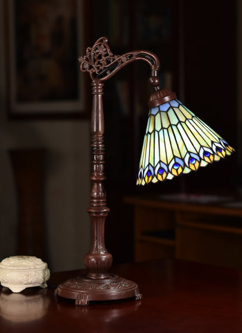 Peacock Style Leadlight Stained Glass Bridge Arm Tiffany  Table Lamp