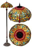 Large 18 inches Traditional Dragonfly Real Stained Glass Tiffany Floor Lamp