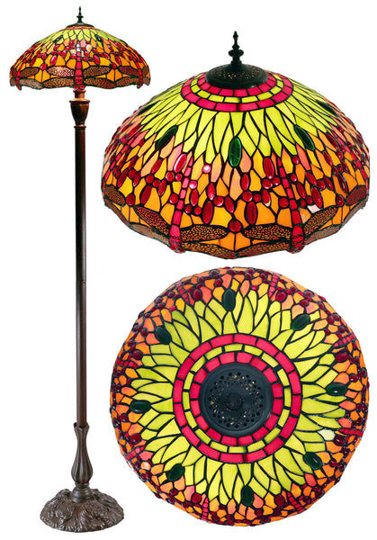 "Large 18"" Traditional Red Dragonfly Real Stained Glass Tiffany Floor Lamp"