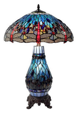 "Large 18"" Blue Traditional Dragonfly  Tiffany Table Lamp with Lighted Base"