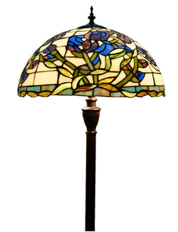 "18"" Purple  Iris  Flower Stained Glass Tiffany Floor Lamp"