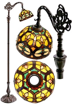 Ornamental Tiffany Style Leadlight Stained Glass Bridge Arm  Floor Lamp