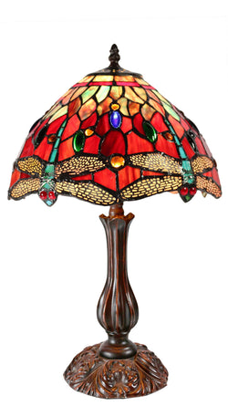 "Traditional 12"" Red  Dragonfly Style Daisy Flower Tiffany Bedside Lamp"