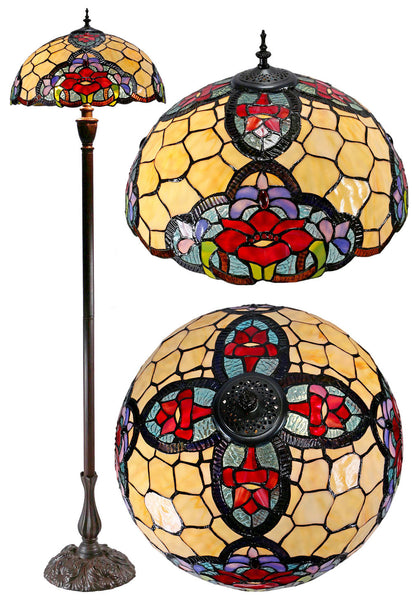 "18"" Red Camillia Stained Glass Tiffany Floor Lamp"