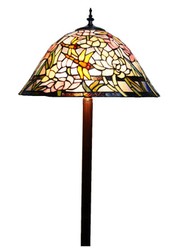 "Large 18"" Traditional Dragonfly Stained Glass Tiffany Floor Lamp"