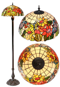 "18"" SunFlower Butterfly Tiffany Floor Lamp"