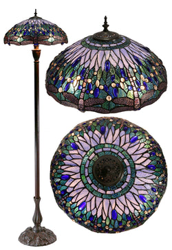 "Huge 18"" Blue Dragonfly Tiffany Floor Lamp"