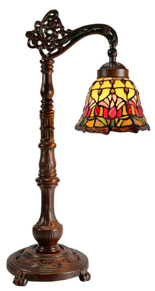 Colonial Tulip Style Leadlight Stained Glass Bridge Arm Tiffany  Table Lamp