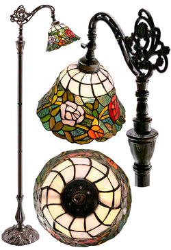 Romantic Rose Style Leadlight Stained Glass Bridge Arm Tiffany  Floor Lamp