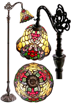 Red Camillia Style Leadlight Stained Glass Bridge Arm Tiffany  Floor Lamp