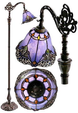 Baroque Accent Style Leadlight Stained Glass Bridge Arm Tiffany  Floor Lamp