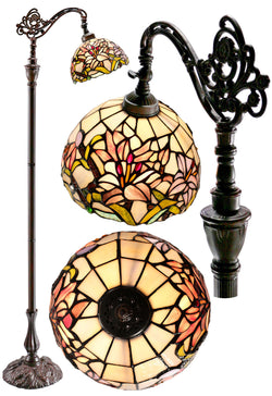 Oriental Lily Style Leadlight Stained Glass Bridge Arm Tiffany  Floor Lamp