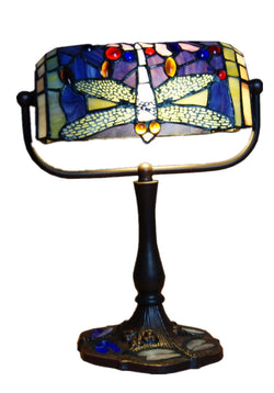 Traditional Dragonfly Tiffany Stained Glass Banker Lamp