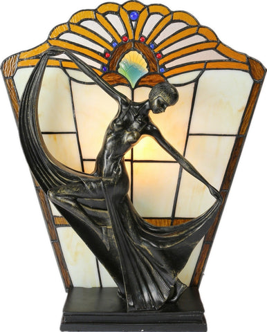 Art Deco Dancer Figurines Tiffany Stained Glass Accent Lamp