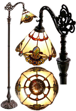 Beige Jewel Carousel Style Leadlight Stained Glass Bridge Arm Tiffany  Floor Lamp