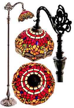 Red Dragonfly Style Leadlight Stained Glass Bridge Arm Tiffany  Floor Lamp