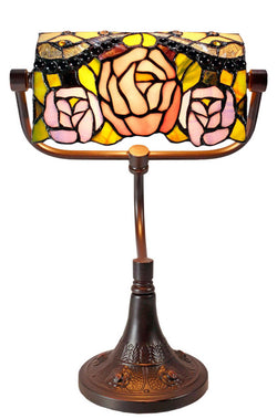 Jeweled Rose Style Tiffany Banker Lamp