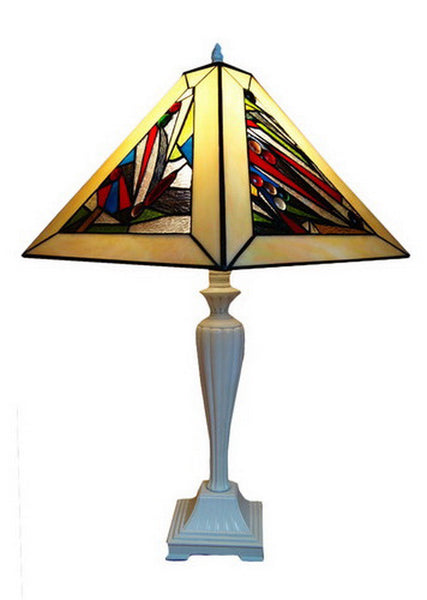 Square Geometric Beige Tiffany Table Lamp