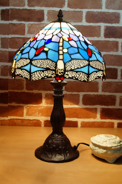 "12"" Traditional Blue Dragonfly Style Tiffany Bedside Lamp"