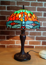 "12"" Traditional Dragonfly Style Tiffany Bedside Lamp"