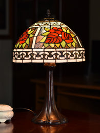 "12""   Rose Style Traditional Tiffany Bedside Lamp"