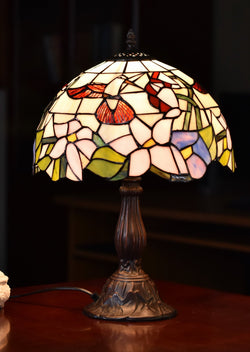 "12""  Hummingbird Flower Style Tiffany Bedside Table Lamp"