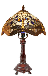 "10""  Traditional Blue Dragonfly Style Tiffany Bedside Lamp"