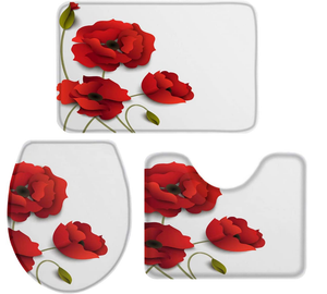 "Fantasy Star Bath Rugs Set 3 Piece, Red Poppy Flower Washable Memory Foam Non-Slip Contour Mat Toilet Lid Cover Bath Mat Sets for Bathroom Decor, 18"" x 30"" + 14"" x 18"" + 15"" x 18"" Small Size"