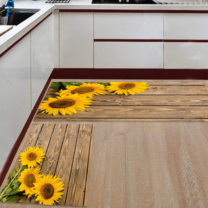 "Fantasy Star Kitchen Rugs Sets 2 Piece Floor Mats 3 Sunflower on The Wooden Table Doormat Non-Slip Rubber Backing Area Rugs Washable Carpet Inside Door Mat Pad Sets (19.7"" x 31.5""+19.7"" x 47.2"")"