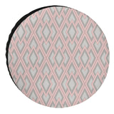 Universal Fit Spare Tire Cover Geometric Diamond Lattice Pink for Jeep, Trailer, RV, SUV and Many Vehicle | Waterproof Dust-proof Decorative Cover