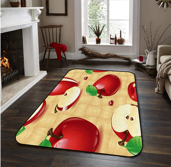 Fantasy Star Non-Slip Area Rugs Room Mat- Red Apple Home Decor Floor Carpet for High Traffic Areas Modern Rug Kitchen Mats Living Room Pads, 4' x 6'