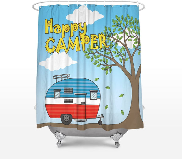 Fantasy Star Happy Camper Camping Caravan Shower Curtain for Bathroom Bathtub Decoration Durable Polyester Fabric Machine Washable Bath Curtain 36 x 72 Inch, Multicolor