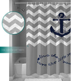 "YEHO Art Gallery 60""(w) x 72""(h) Infinity Live The Life You Love,Love The Life You Live.Gray and White Chevron Zig Zag Pattern with Anchor Navy Waterproof Bathroom Fabric Shower Curtain"