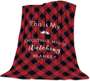 This is My Christmas Movie Watching Blanket Lightweight Flannel Fleece Throw Blankets Reversible Cozy Warm Plush Microfiber Blanket for Bed Couch Chair Living Room All-Season