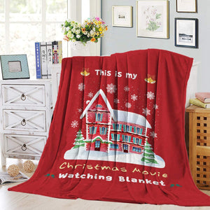 Teamery Throw Blankets Flannel Fleece Luxury Microfiber Lightweightt Super Warm Soft Throw Blanket for Couch/Bed,This is My Christmas Movie Watching Blanket Village House Snowflake