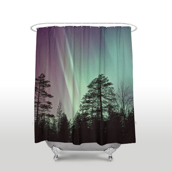 Fantasy Staring Aurora Forest Trees Shadow Shower Curtain for Bathroom Bathtub Decoration Mildew Waterproof Polyester Fabric Machine Washable Shower Curtains 36