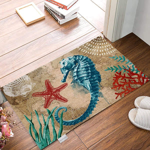 "Doormats for Front Entrance Outside Patio Rug 18""x 30"" Ocean Seahorse Starfish-Marine Life Theme Indoor/Outdoor/Bathroom/Kitchen/Bedroom/Entryway Floor, Non-Slip Rubber"