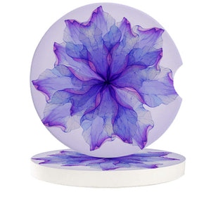 Absorbent Car Coasters for Cup Holders Set of 4, Purple Mandala Flower 2.56inch Ceramic Stone Drink Coaster Car Accessories for Women Men, Watecolor