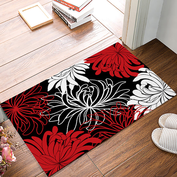 DaringOne Daisy Floral Printed,Red Black and White Non-Slip Machine Washable Bathroom Kitchen Decor Rug Mat Welcome Doormat 23.6(L) x 15.7(W)