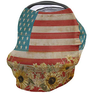 American Flag with Farm Sunflower Nursing Cover, Infant Carseat Canopy, Privacy Breastfeeding Scarf Rustic Retro Wood Board Breathable Stretchy Stroller Cover, Baby Shower for Boy/Girl