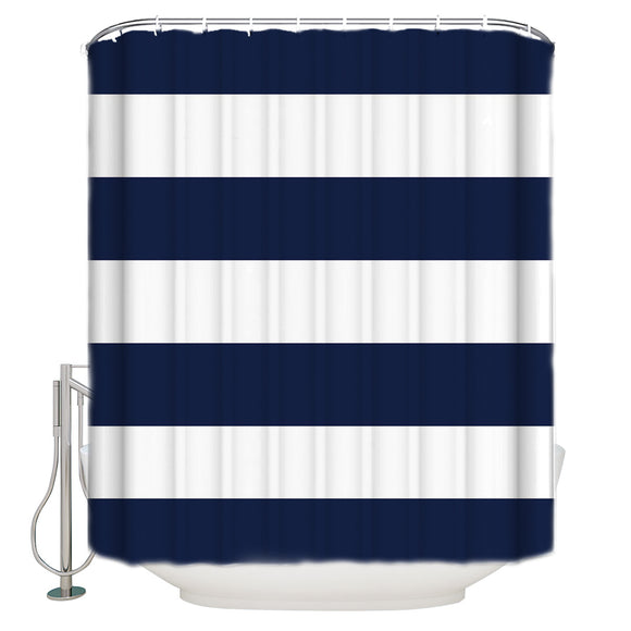 LaBLUUX Fabric Shower Curtain with Hooks, Navt Blue and White Horizontal Stripes Decorative Curtains for Bathroom Machine Washable Waterproof Shower Curtains 72x72 inch