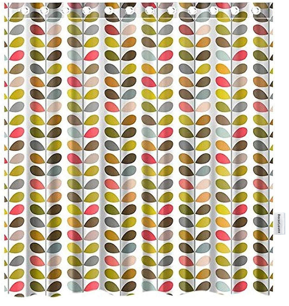 DecorLovee Orla Kiely Colorful Leaf Shower Curtains for Bathroom Art Decor, Durable Polyester Fabric Waterproof Bathtub Curtains with Hooks Bathroom Decorations, Standard 72'' x 72''