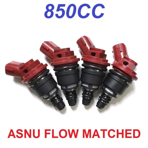 4 JECS 850CC Side Feed Fuel Injectors FOR SUBARU WRX STI EJ20 EJ25 E85 ASNU