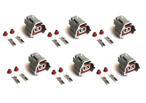 6 x DENSO LOW KEY FUEL INJECTOR PLUGS CLIPS - FOR TOYOTA, SUBARU, MAZDA, SARD
